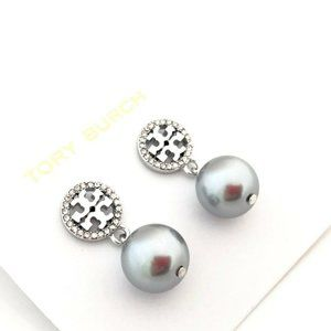 Tory Burch Silver Pearl Pave Crystal Earrings